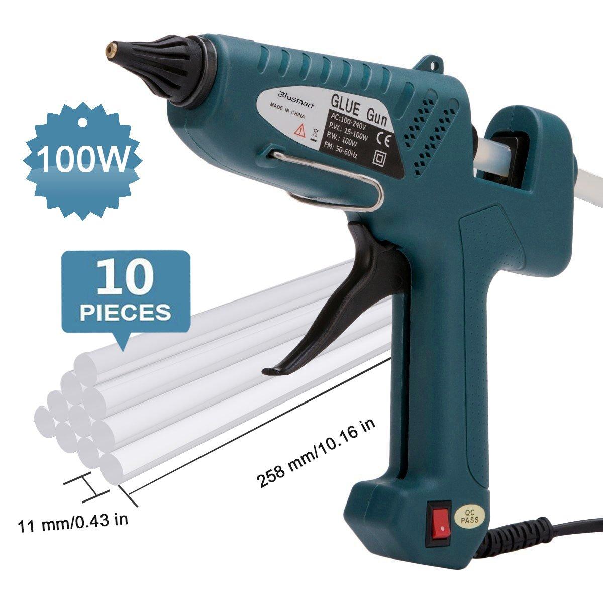 Hot Glue Gun , Blusmart 100-Watt Industrial Glue Gun High Temperature Hot Melt Glue Gun with 10pcs Glue Sticks,Dark Green