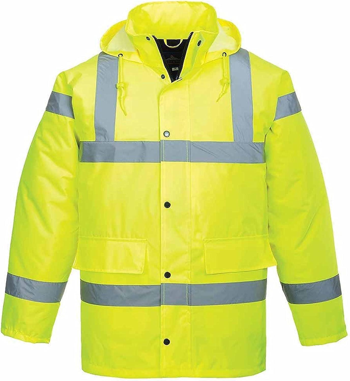 Portwest S460YERL Hi-Vis Traffic Jacket with concealed hood