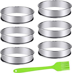 6 Pieces English Muffins Rings, Stainless Steel Muffin Tart Ring, Double Rolled Mousse Ring Cake Mold for Home Food Making Tool (3.94Inch)