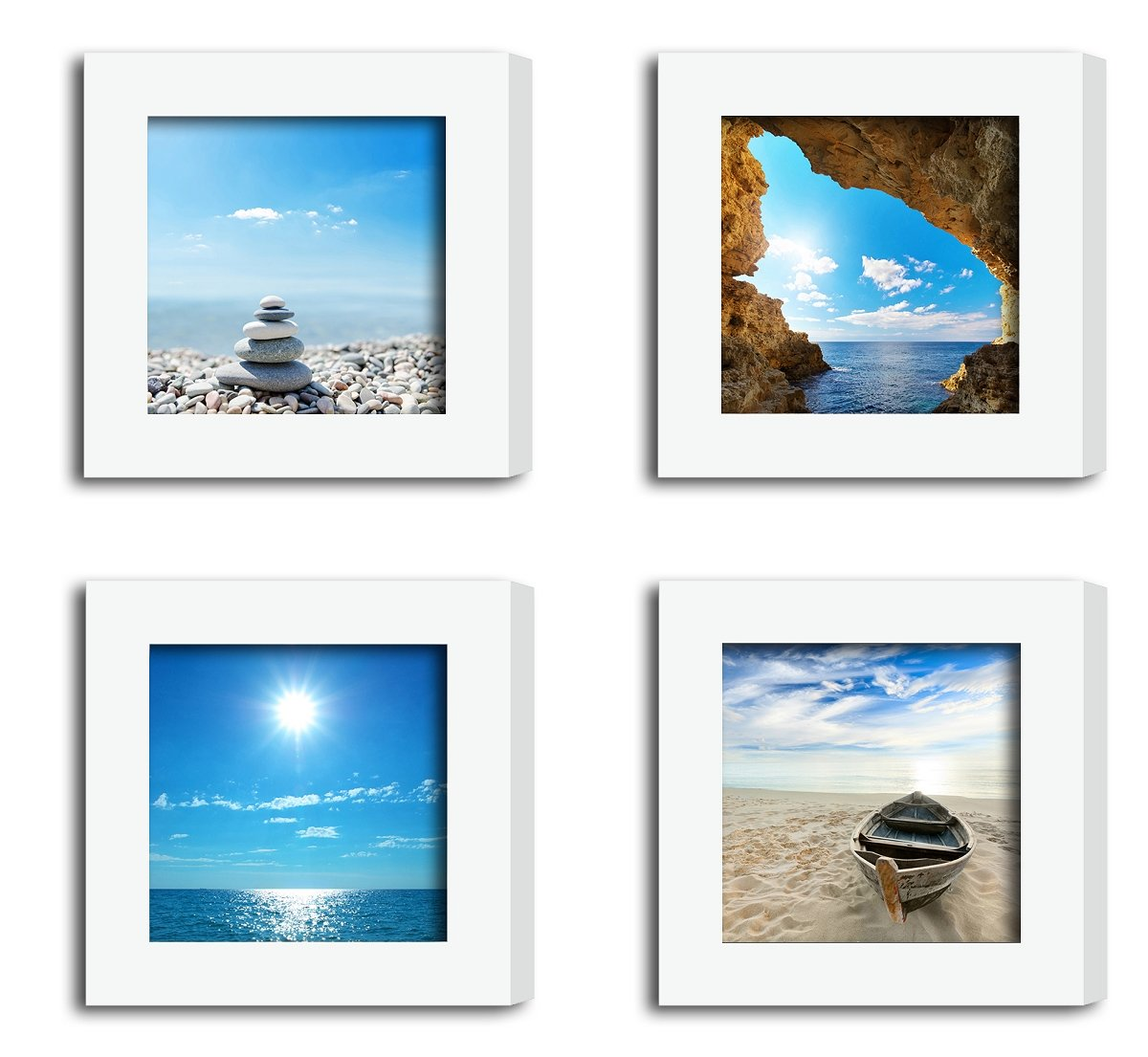 4Pcs 4x4 Real Glass Wood Frame White Square , Fit Family Pictures 4x4'' Photo (Window 3.6x3.6 inch ) , Desktop Stand On Wall Family Combine Sea Jetty Beach Motivational Decoration (10 Set Pictures) 09 by XUFLY