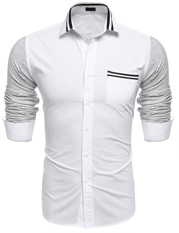 Jingjing1 Mens Dress Shirt Casual Contrast Color Long Sleeve