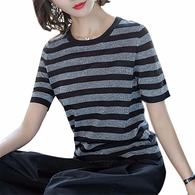 YUCH Señoras Camiseta De Rayas Tejidas De Gran Tamaño Blusa Manga Corta Con Cuello Redondo De Verano.: Amazon.es: Ropa y accesorios
