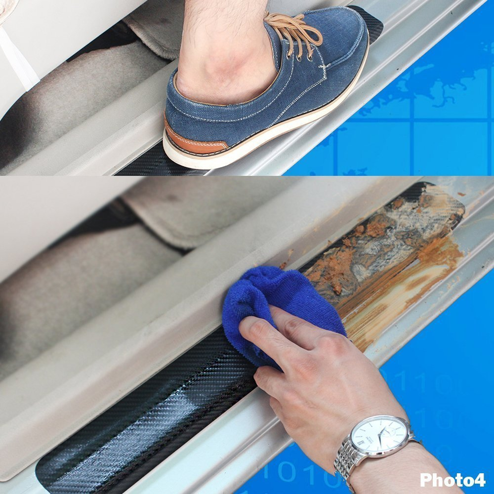Car Moulding 4Pcs Carbon Fiber Door Sill Scuff Plate 4D Welcome Inside Film Sticker Vinyl Self-adhesive Sticker