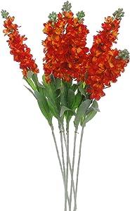 """Lily Garden Set of 6 Stems 32"""" Artificial Antirrhinum Snapdragon Silk Flowers (Tangerine)"""