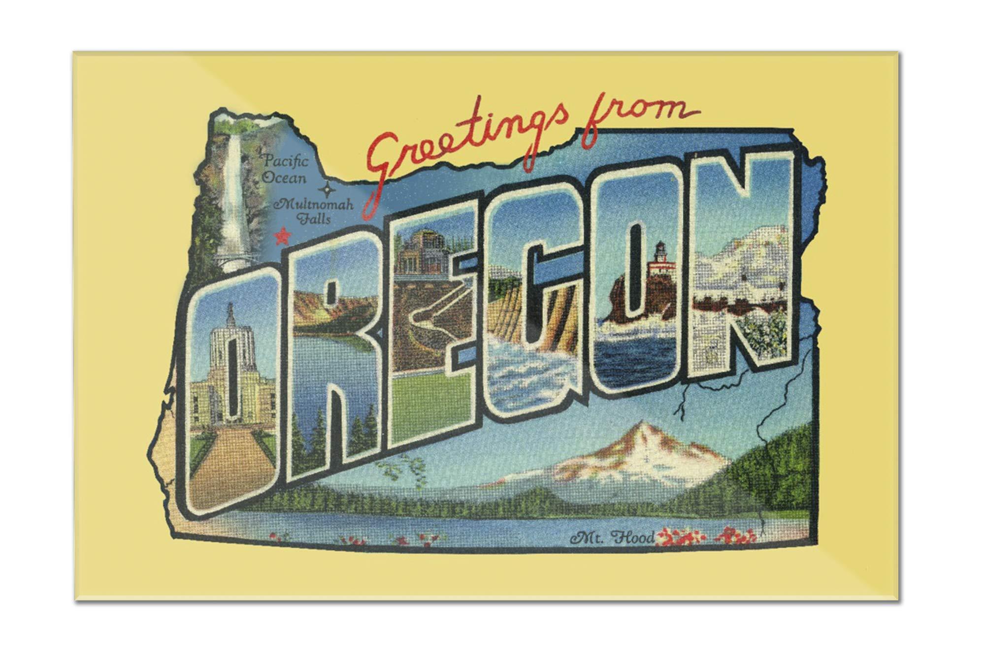 Oregon - Greetings - Contour - Vintage Postcard 97878 (18x12 Acrylic Wall Sign)