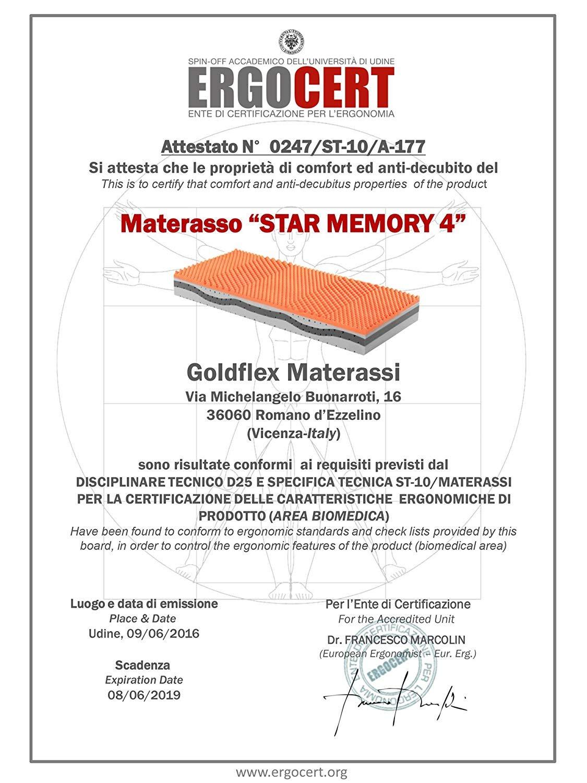 Goldflex Materassi Romano D Ezzelino.Goldflex Materasso Star Memory 4 Singolo 80x190 Strati Schiumato