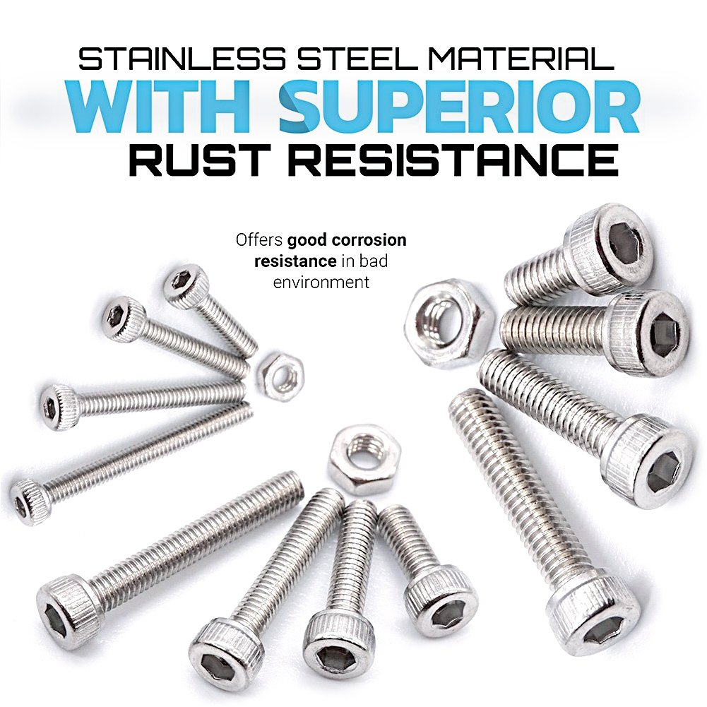 Acogedor 480pcs M2 M3 M4 Stainless Steel Hex Socket Head Cap Screws Nuts Assortment Kit with Box 304 Stainless Steel