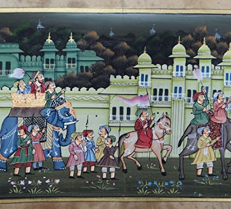 Antique Painting Mughal Proceession Scene Miniature Portrait Art