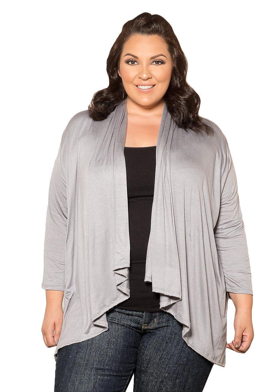 SWAK Designs Womens Plus Size Long Sleeve Open Cardigan open-cardigan