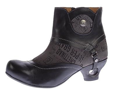 c9e9abd908f4 Damen Stiefeletten echt Leder Tiggers Anja 05 d Stiefel Schuhe Schwarz  Trichter Absatz Gr. 40