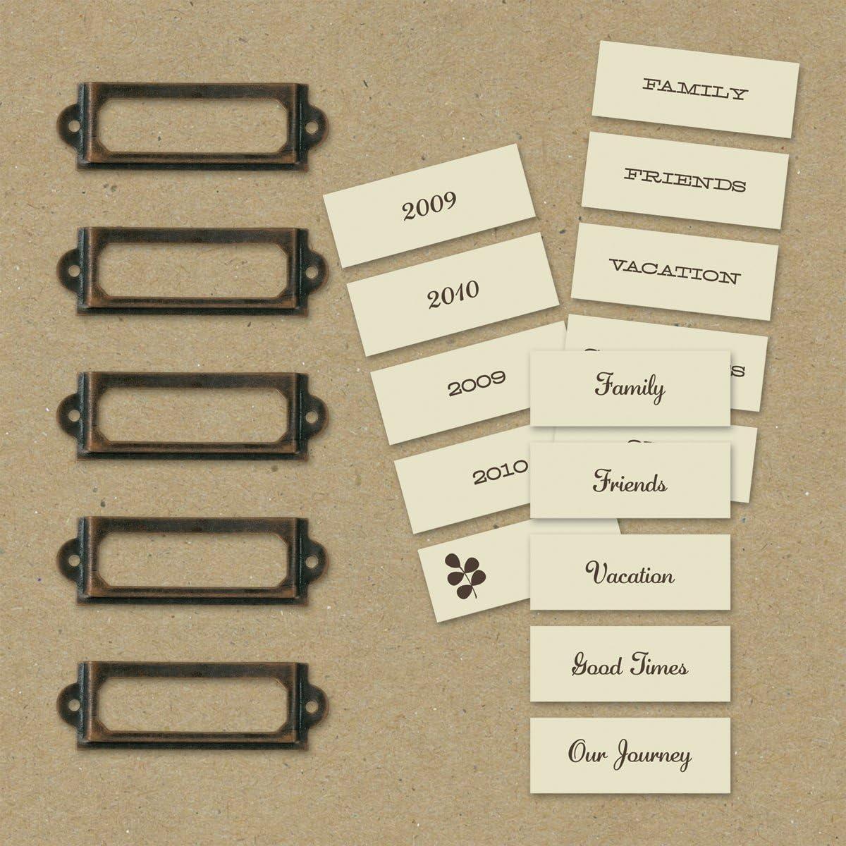 20PC Antique Copper Handle File Name Card Cabinet Drawer Label Holder Pull Frame