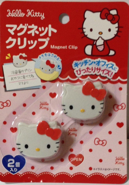 Sanrio Hello Kitty Die-cut Magnet Clip 3.4×3.2 cm 2 Pcs Set Kitchen Office