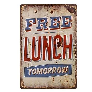 Ndier Vintage Plate Poster Metal Free Lunch Pared para cafetería, Bar, Restaurante, Club, casa 20x30cm: Amazon.es: Hogar