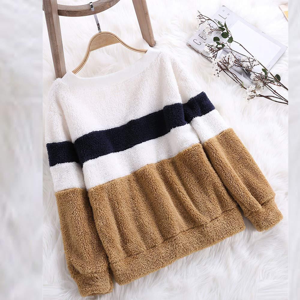 Luckycat para Mujer de Invierno Color a Juego sólido Patchwork O Cuello Sudadera Casual Blusa: Amazon.es: Ropa y accesorios