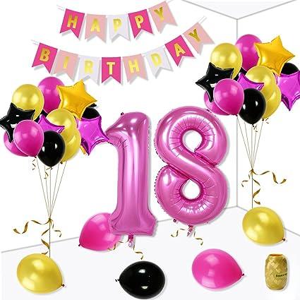 Utopp 18Th Birthday Decorations Kit For Girls Balloons Rose Red Happy Letter Banner 40