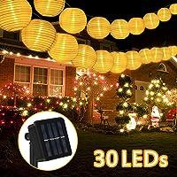 Guirnaldas de Luces Solar Farolillos Guirnalda Luces Guirnalda Luces Exterior Solar Luces de Cadenasolar LED6M 30Cadena Solar de Luces 2modos IP65Impermeable blanco cálido[Energieklasse A +++]