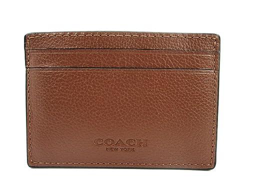 aa39c904 Coach Mens Money Clip Credit Card Case Leather Dark Saddle F75459 ...