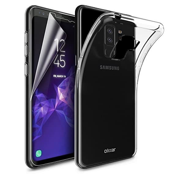 huge discount 8048f aa44f Olixar Samsung Galaxy S9 Plus Slim Clear Case Soft Gel Cover with Edge to  Edge Screen Protector - Ultra Thin Gel Cover for Galaxy S9 Plus Total 360  ...