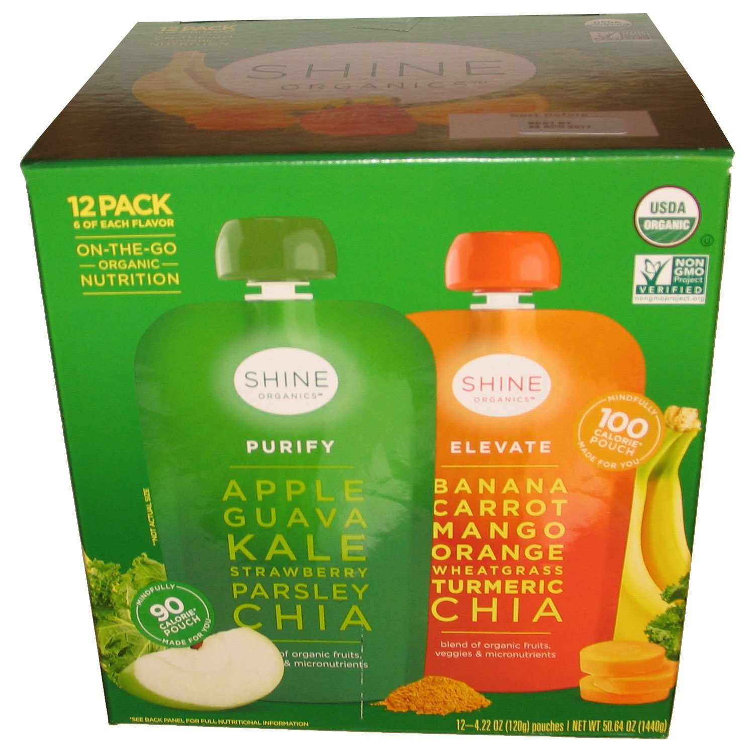 Happy Family Shine Organics Purify and Elevate Multi-Pack (4.22 Ounces each., 12 Count)