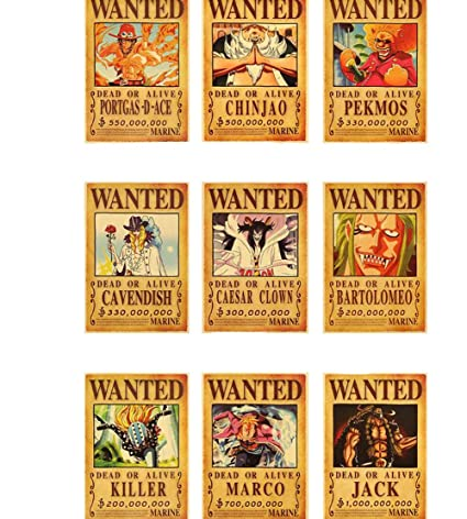 13e9c4ff757 Amazon.com: Weeck Anime One Piece Luffy Wanted Home Decor Cosplay Wall  Poster Set (6): Posters & Prints