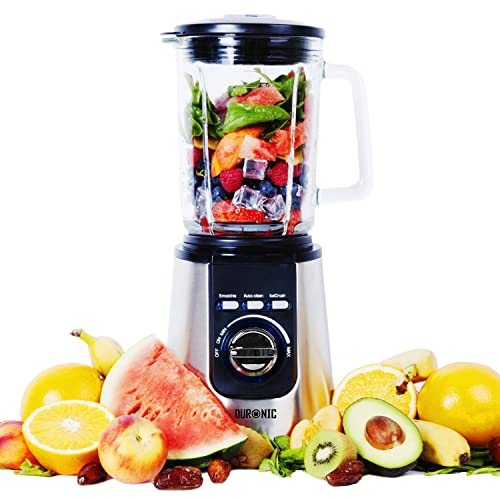 Duronic BL1200 Smoothie Maker Blender - Glass Jug   Stainless Steel   1.8L   Pre Programmed for: Smoothies, Ice Crusher and Auto Clean - Powerful 1200W Motor