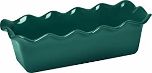"""Emile Henry Made In France Ruffled Loaf Pan, 12.5"""" by 6"""" by 4"""", Blue Flame"""