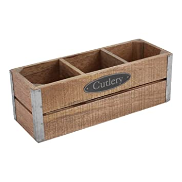 Hallmark Home Decorative Wooden Crates With Galvanized Corners (Small,  Cutlery)