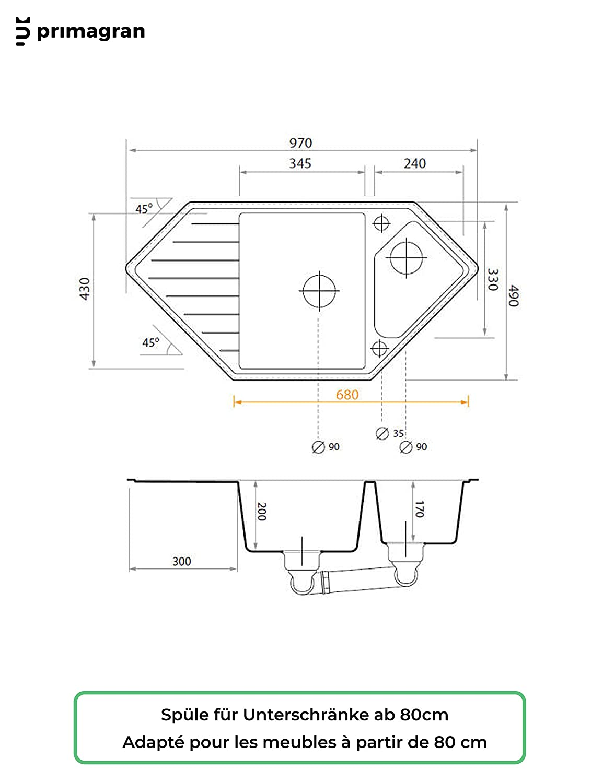 Granitspule Mit Siphon Monaco Einbauspule Eckspule Spulbecken