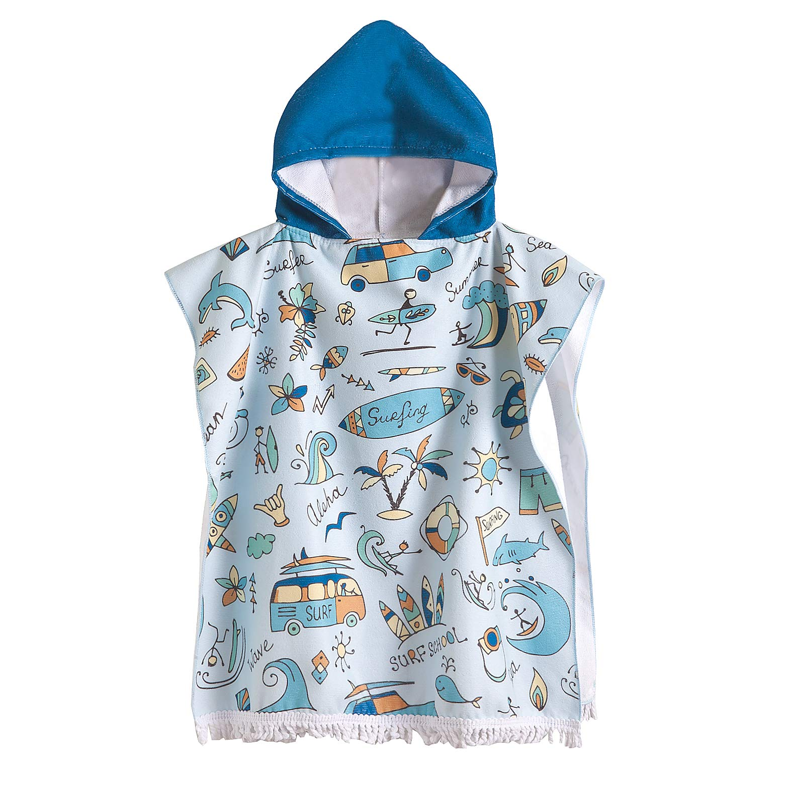 CADITEX Toddler Hooded Beach Bath Towel - Kids Hooded Bath/Beach Towel Girls Boys Cute Cartoon Animal Full Vitality (SURF School)
