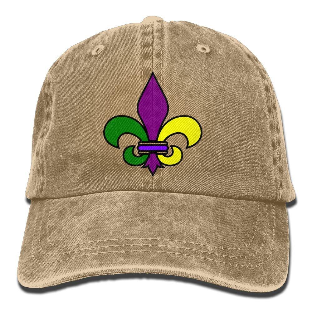 Mardi Gras Fleur De Lis Plain Adjustable Cowboy Cap Denim Hat for Women and Men