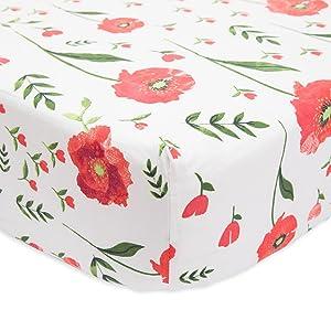 Little Unicorn Percale Crib Sheet - Summer Poppy