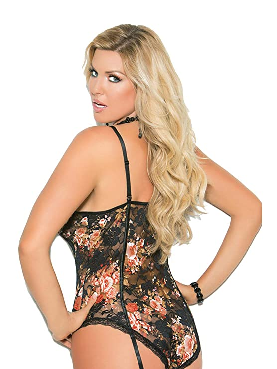 928f01c146be3 Amazon.com  Elegant Moments Sexy Plus Size Floral Print Lace Gartered Teddy  Lingerie  Clothing
