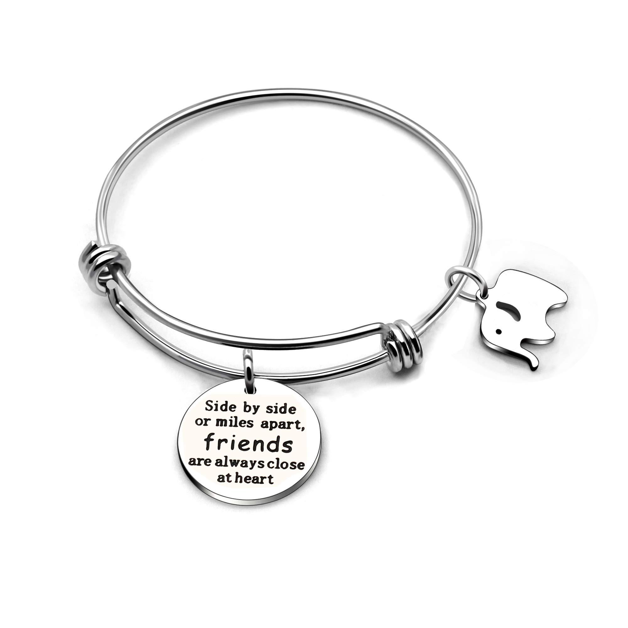 CAROMAY Bangle Bracelet Lucky Elephant Friendship Bestie Stainless Steel