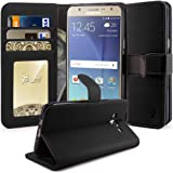 J7 Case, TAURI [Stand Feature] Wallet Leather Case with Card Pockets Protective Case Flip Cover For Samsung Galaxy J7 (2015) - Black