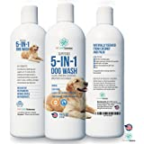 Professional Grade Dog Shampoo & Puppy Shampoo With Coconut Oil & Palm Oil. 5 in 1 Cleaner, Conditioner, Detangler, Deodoriser and Moisturiser. Sensitive Shampoo for Dogs. Made in USA. 16OZ