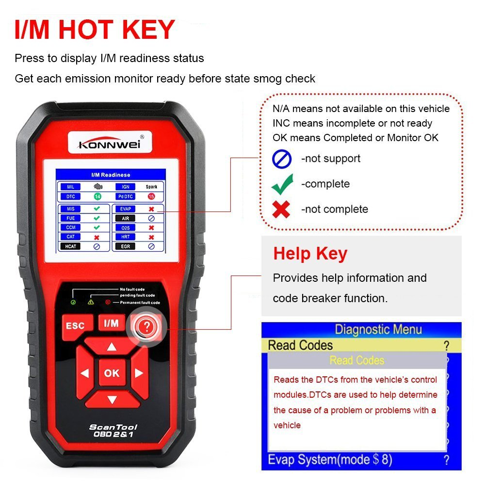 Enhanced Obd Ii Scan Tool Check Engine Reader Automotive Bmw Fault Code Chart Car Readercolor Screen Full Obd2 Eobd Function Diagnostic Scanner With O2 Sensor