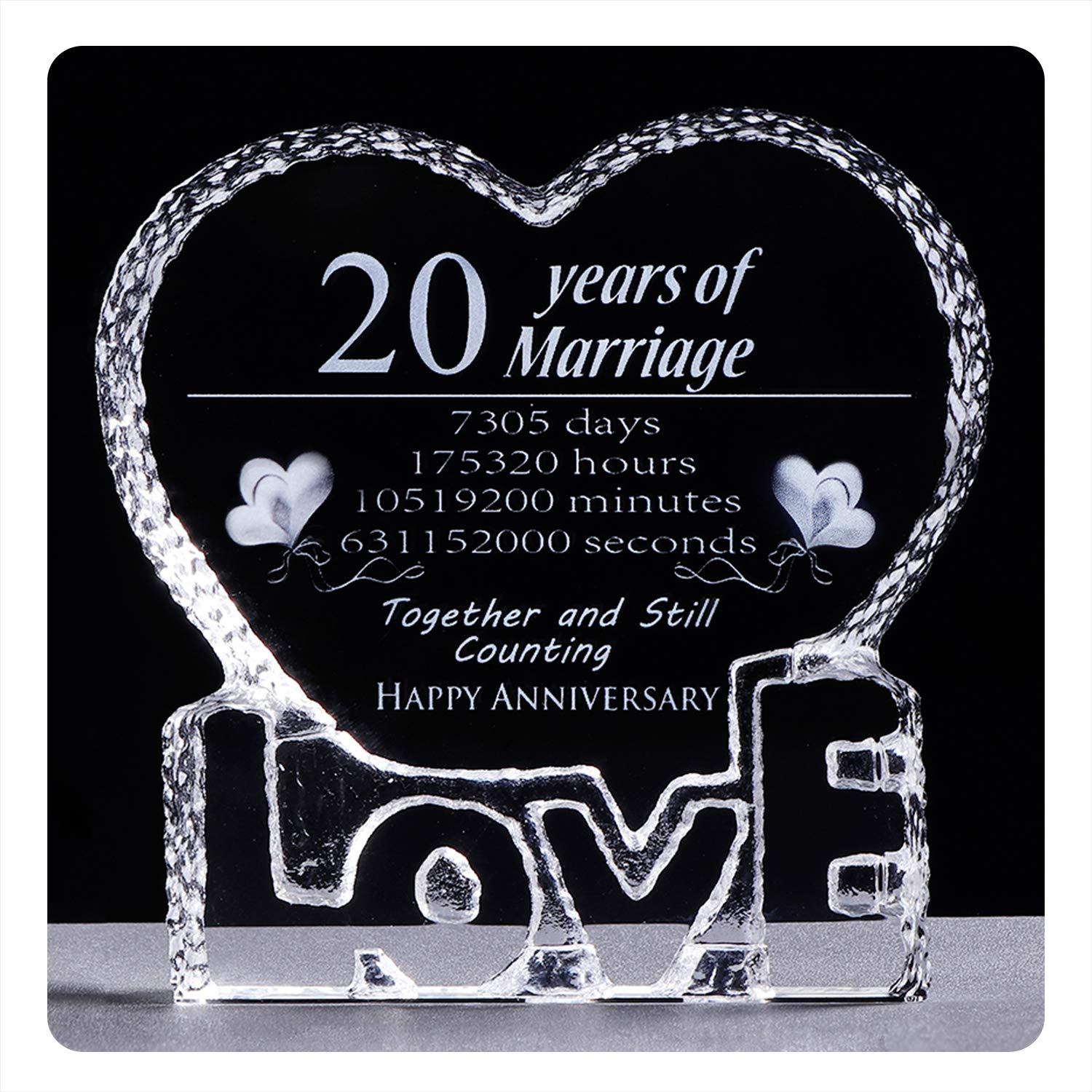 YWHL 20 Year 20th Wedding Anniversary Crystal Sculpture Keepsake Gifts for Her Wife Girlfriend Him Husband (20th Year) by YWHL