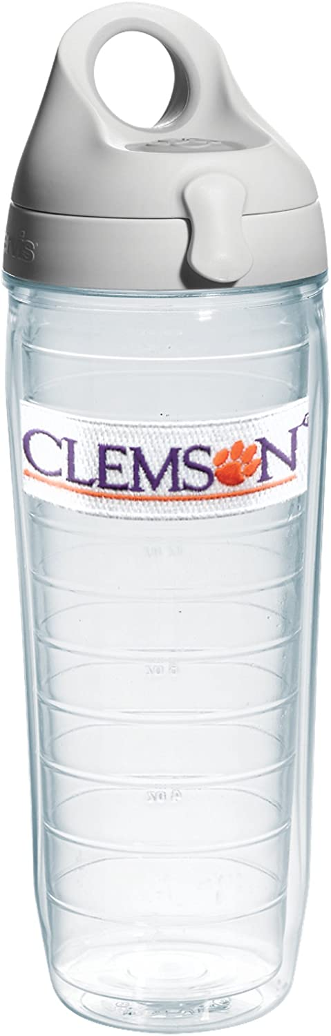 Tervis 1073786 Clemson University Emblem Individual Water Bottle with Gray lid, 24 oz, Clear