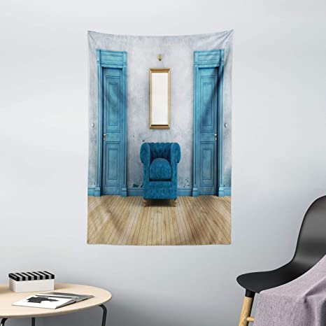Amazon Com Ambesonne Antique Tapestry Empty Space 2 Doors Armchair And Simple Mirror Golden Yellow Frame Wall Hanging For Bedroom Living Room Dorm Decor 40 X 60 Turquoise Blue Home Kitchen