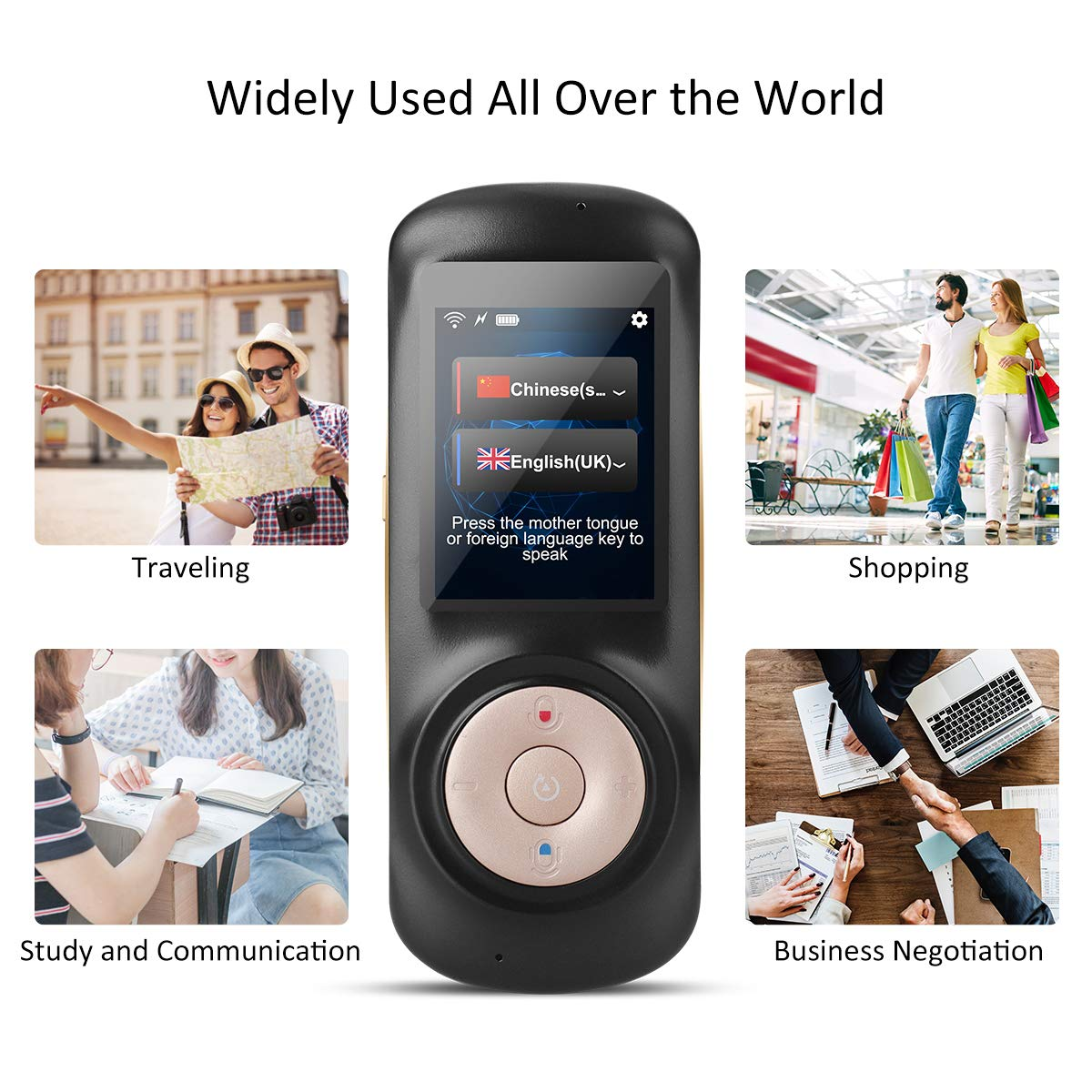 Instant Voice Language Translator Device,Smart Two Way WiFi 2.4inch Touch Screen Portable Translation for Learning Travel Business Shopping-Black by Birgus (Image #5)