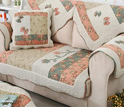 jsj _ CHENG algodón antideslizante acolchado floral sofá muebles toallas de protectores de funda protectora con