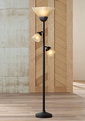 Torchiere Floor Lamp Roman Bronze Frosted Champagne Amber Glass 3-Light Dimmable