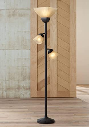 Torchiere Floor Lamp Roman Bronze Frosted Champagne Amber Glass 3 ...