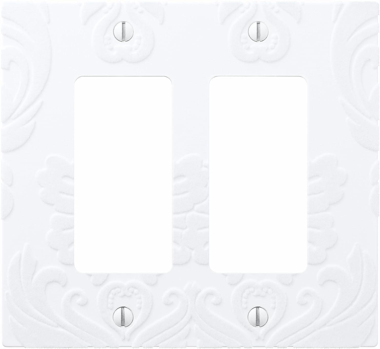 Amerelle AmerTac 40RW 1 Rocker-GFCI Velvet Flocked Damask Wallplate White