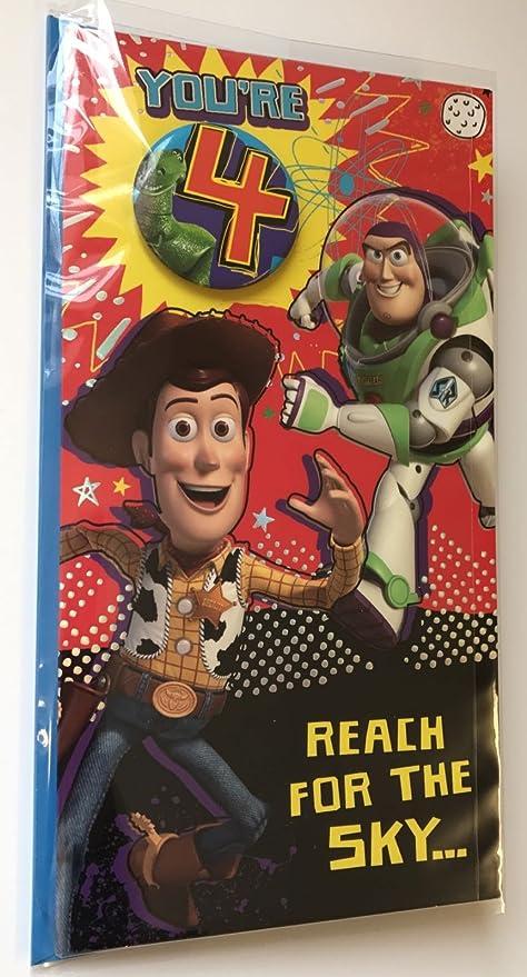 Tarjeta de cumpleaños de Toy Story, para cumpleaños de 4 ...