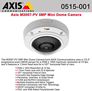Axis - 0515-001 M3007-PV Fixed Mini Dome Network Camera, 5 MP, Digital PTZ