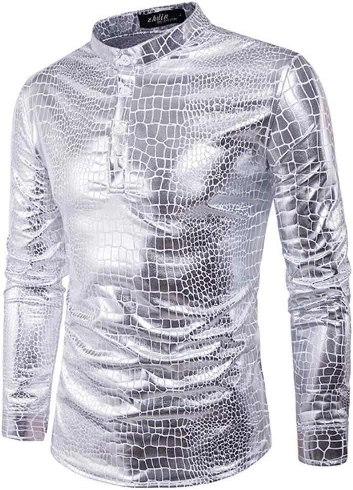 LIUXING-TUMI Camisa de Vestir de los Hombres Lentejuelas Plateadas Camisa de Manga Larga con Cuello Abotonado con Botones 70 años Disco para Fiesta de Disfraces Talla M L XL XXL 3XL: Amazon.es: