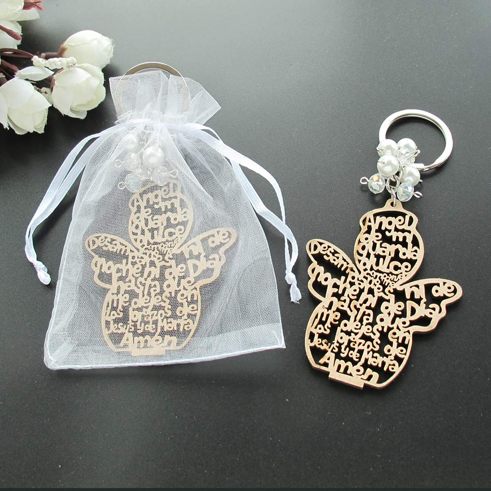 Baptism Angel Key Ring Made from Wood (12 PCS) /Comunion Favors for Boy or Girl Recuerdos de Bautizo with Organza Bags