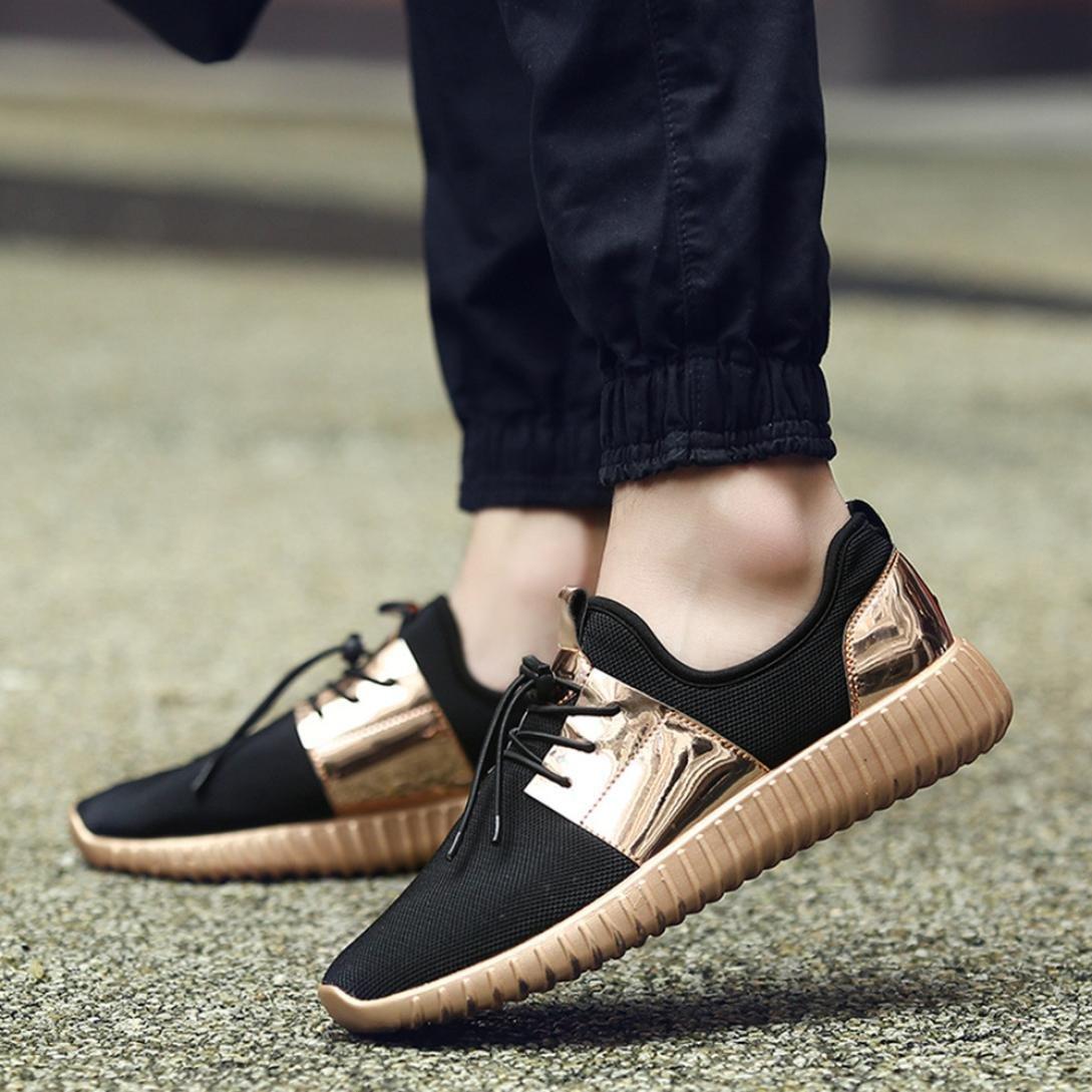 aimtoppyホットセール、メンズ低足首ファッションパッチワークメッシュ通気性カジュアルスニーカーレースアップスポーツ靴 US:8.5 ゴールド AIMTOPPY B07C5Q5YJH