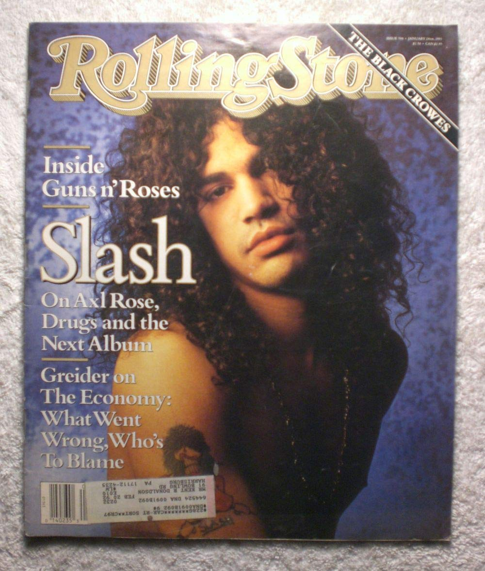 Slash - Guns n' Roses - Rolling Stone Magazine - #596 - January 24, 1991 - The Black Crowes article Guns n' Roses Slash - Guns n' Roses - Rolling Stone Magazine - #596 - January 24